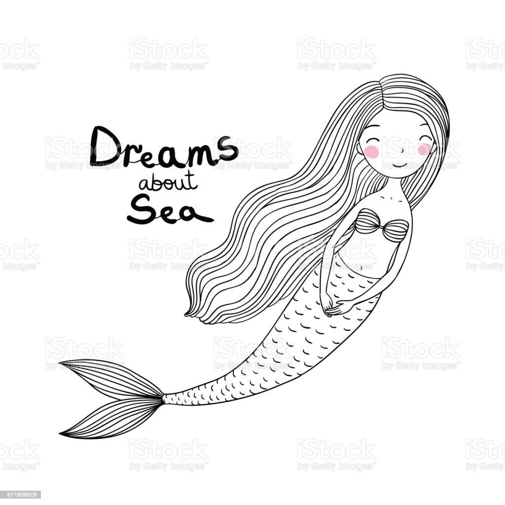 Ilustración De Sirena De Hermosos Dibujos Animados Lindo Con El Pelo