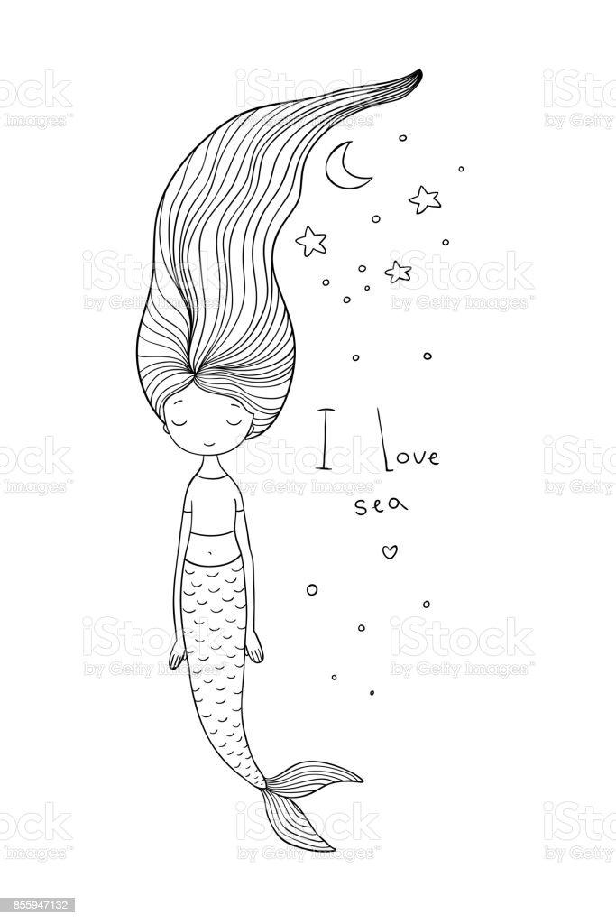 Schönen Niedlichen Cartoon Meerjungfrau Mit Langen Haaren Sirene ...