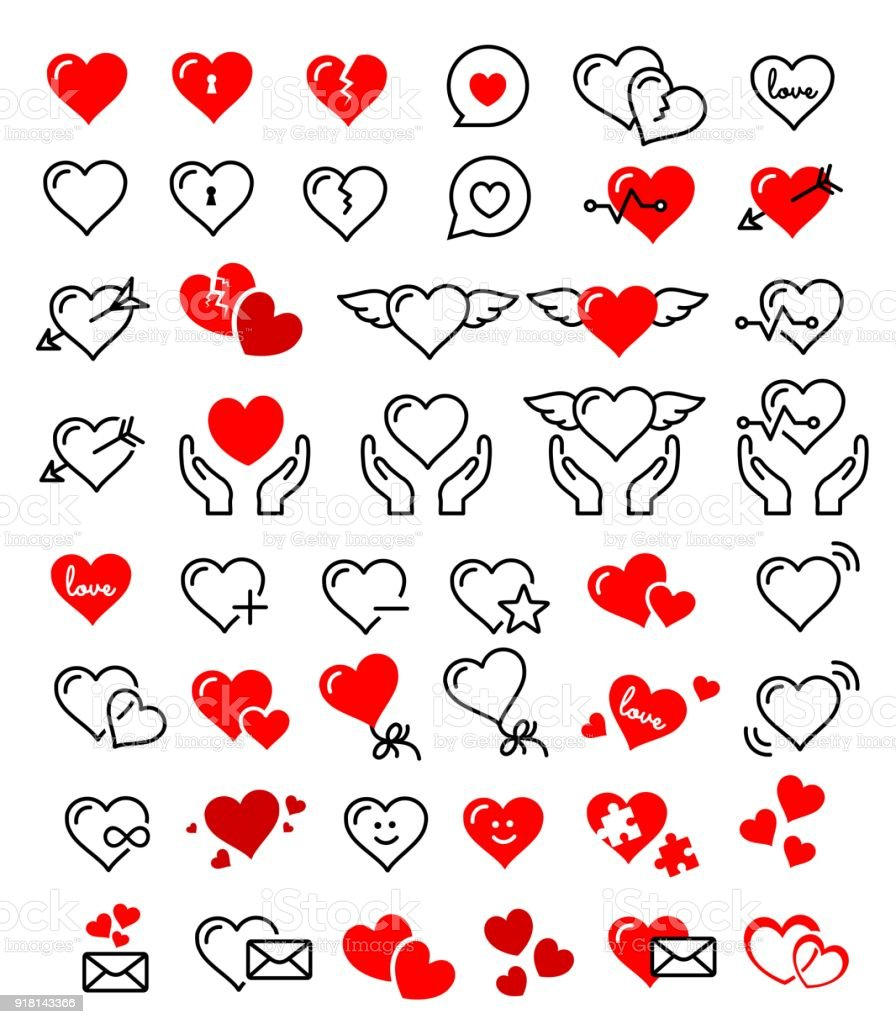 Beautiful Cute Heart Icon Set Vector Stock Vector Art More Images