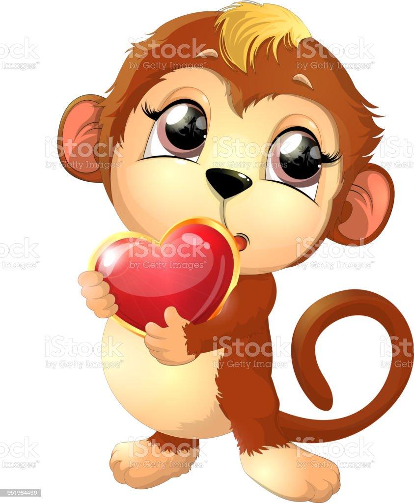 macaco bonito bonito - ilustração de arte em vetor