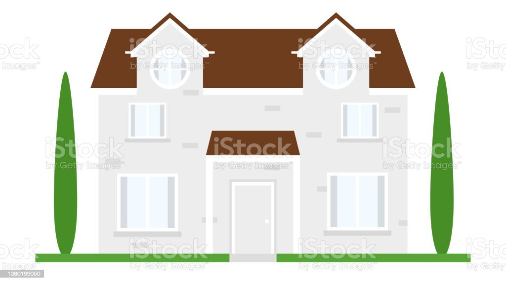 Beautiful Cute Simple Building Cottage House With Facade And Plants Trees Window Door Roof And Garage Flat Design Cartoon Style Vector Illustration Stock Illustration Download Image Now Istock