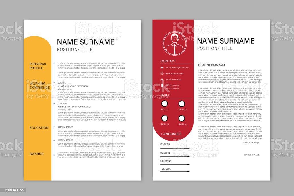 beautiful cv resume template vector minimalist color