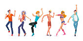 Beautiful, sporting dancing people in style clothes dancing pop, in modern dance styles with different movements. Men and women dancing at modern pop party. Illustration in cartoon style.