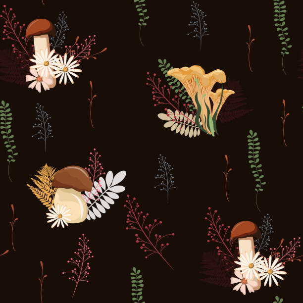 Beautiful dark Autumn seamless pattern vector with mushrooms, berries, fern, herbs and leaves. Fall colorful floral background. pattern for fashion, fabric and all prints on black background. vector art illustration