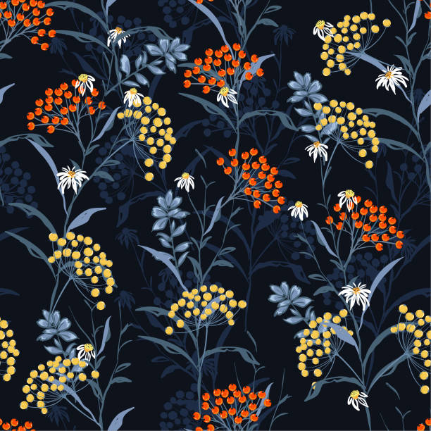 Beautiful dark Autumn seamless pattern vector with orange and yellow berries and leaves. Fall colorful floral background.pattern for fashion,fabric and all prints vector art illustration