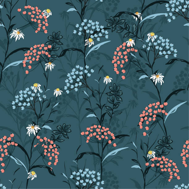 Beautiful dark Autumn seamless pattern vector with pink and blue berries and leaves. Fall colorful floral background.pattern for fashion,fabric and all prints vector art illustration
