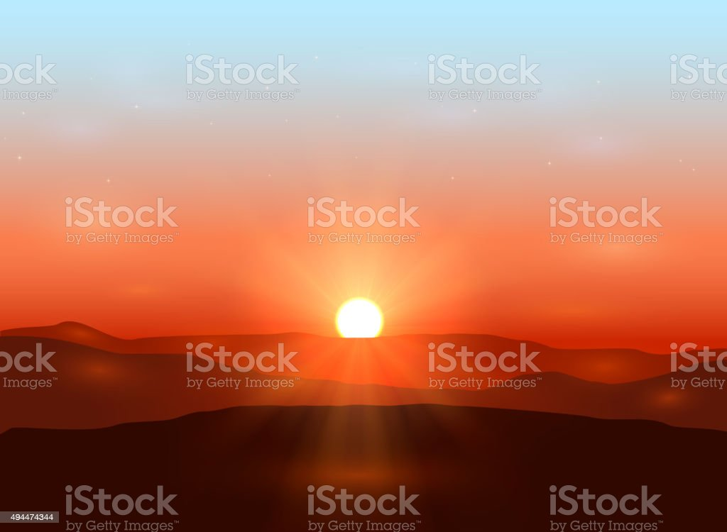 Beautiful dawn vector art illustration