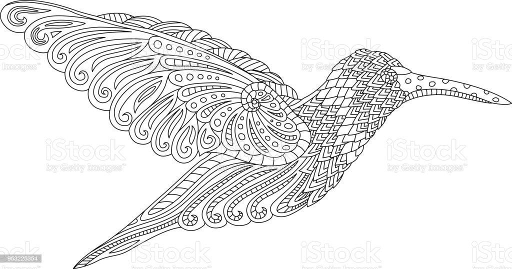 Vacker dekorativ hummingbird vektorkonstillustration