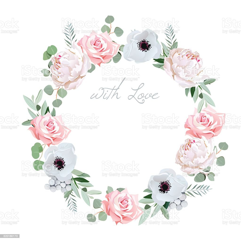 Beautiful delicate peony, anemone, rose round vector frame royalty-free beautiful delicate peony anemone rose round vector frame stock illustration - download image now