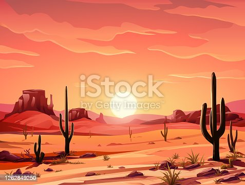 Vector illustration of an idyllic desert landscape with Saguaro cactus at sunset. In the background are hills and mountains, and a bright, vibrant red sky. Illustration with space for text.