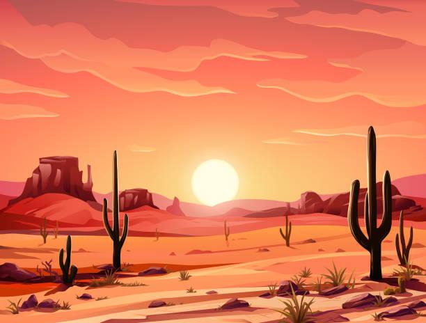 schöne wüste sonnenuntergang - wüste stock-grafiken, -clipart, -cartoons und -symbole