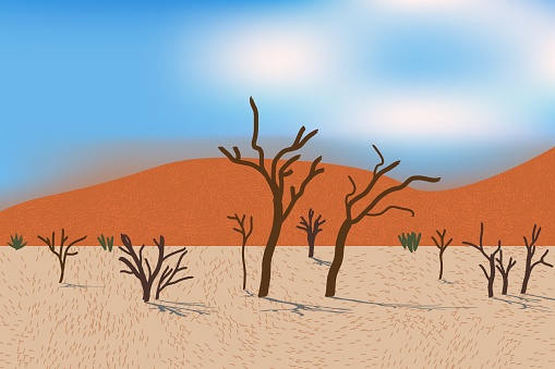 Beautiful desert view with stylized dunes, trees, grass and bushes. Bright day light.