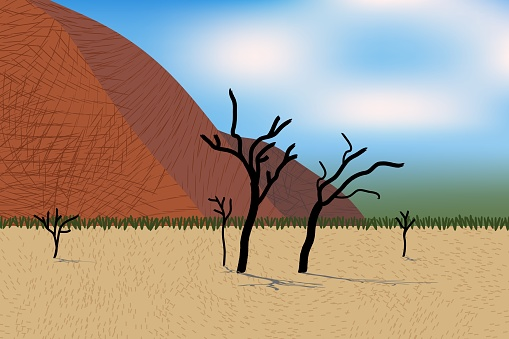 Beautiful desert view with stylized mountains, trees, grass and bushes. Bright day light.