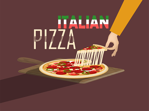 beautiful design vector of italian pizza with cheese and pizza paddle,italian food concept design