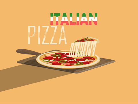 beautiful design vector of italian pizza with cheese and pizza paddle on yellow background,italian food concept design