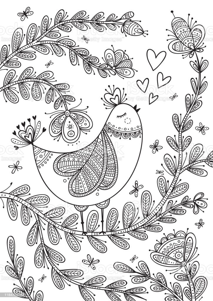 Beautiful Detailed Coloring Page With Bird Stock Illustration - Download  Image Now - IStock