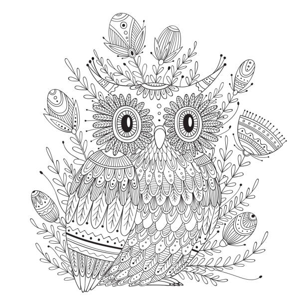 illustrazioni stock, clip art, cartoni animati e icone di tendenza di beautiful detailed coloring page with bird - piume colorate