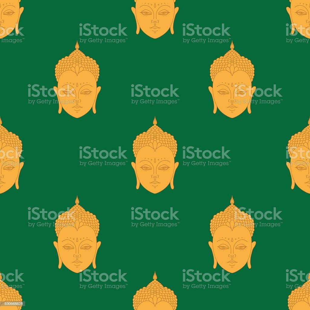 Wunderschöne detaillierte Leiter der Buddha. Indischen Hindu-Motive nahtlose Musterung. – Vektorgrafik