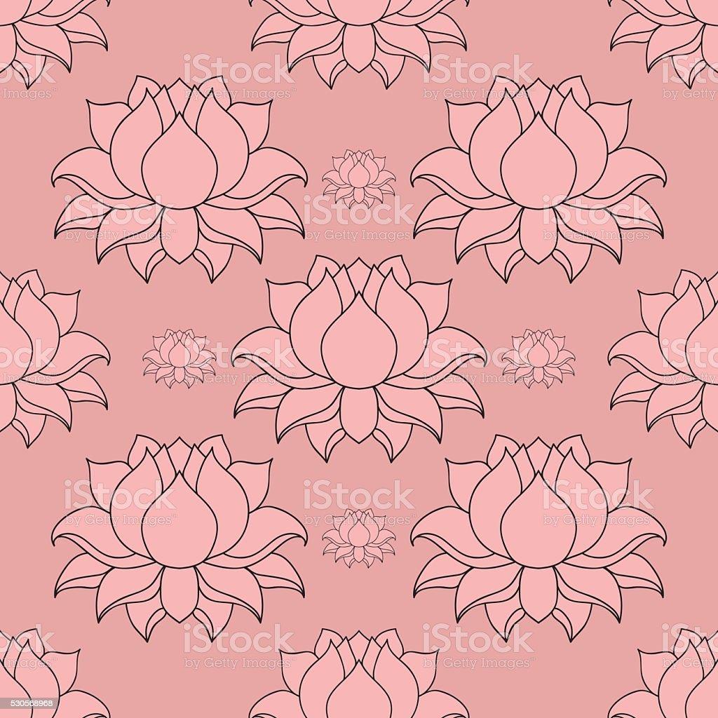 Beautiful Detailed Lined Lotus Flower Indian Hindu Motifs Seamless