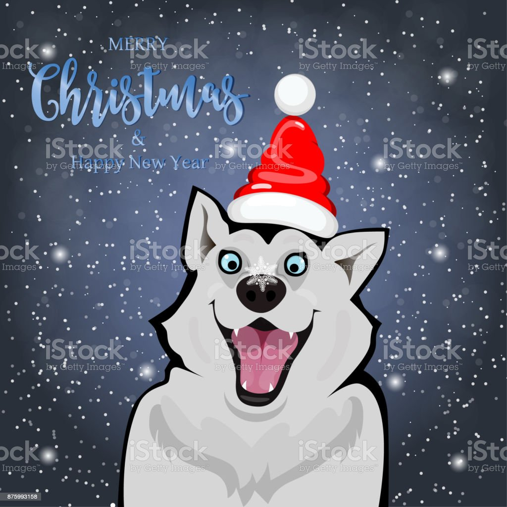 Beautiful Dog In Front Of Christmas Card Merry Christmas And Happy