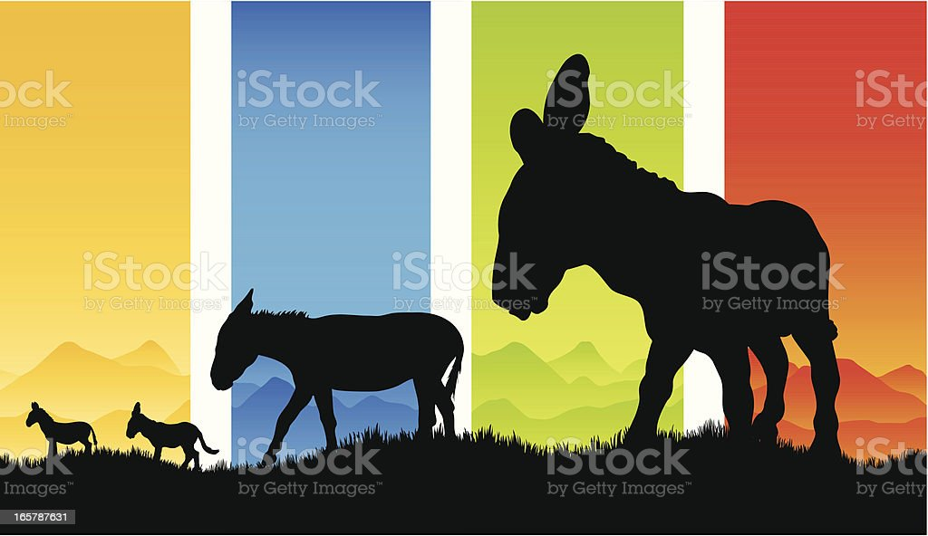 Beautiful donkey silhouettes in the country royalty-free beautiful donkey silhouettes in the country stock vector art & more images of animal