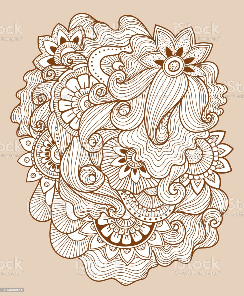 Beautiful Doodle Art Floral Composition Henna Tattoo Flower Template ...