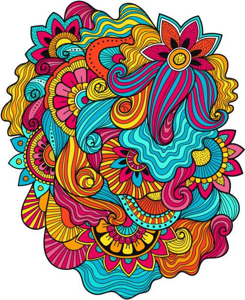 美しい落書きアート花組成物。タトゥー花テンプレート。落書き花図面。落書き花飾り - アジアのタトゥー点のイラスト素材/クリップアート素材/マンガ素材/アイコン素材