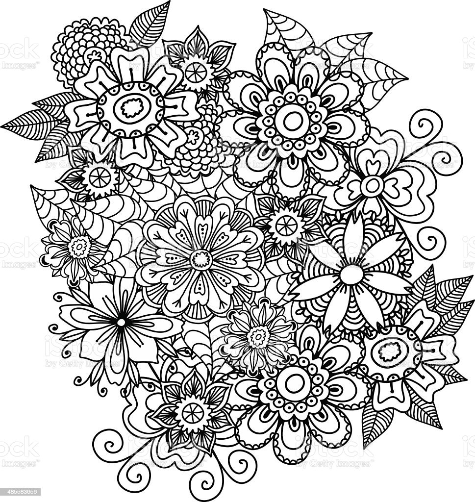 Beautiful Doodle Art Flowers Floral Pattern Stockvectorkunst En Meer