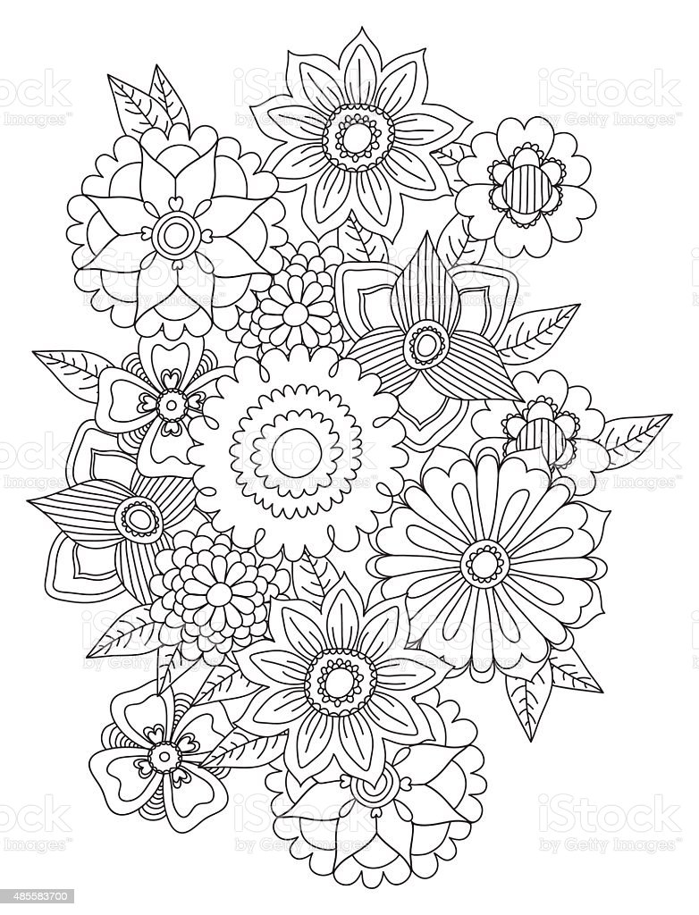Beautiful Doodle Art Flowers Floral Pattern Stock Illustration