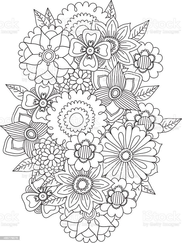 Beautiful Doodle Art Flowers Floral Pattern Stock Vector Art More