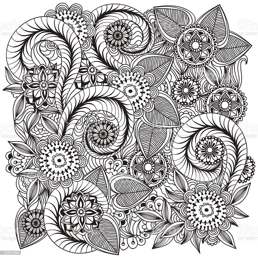 Beautiful Doodle Art Flowers Floral Pattern Stock Vector Art & More ...