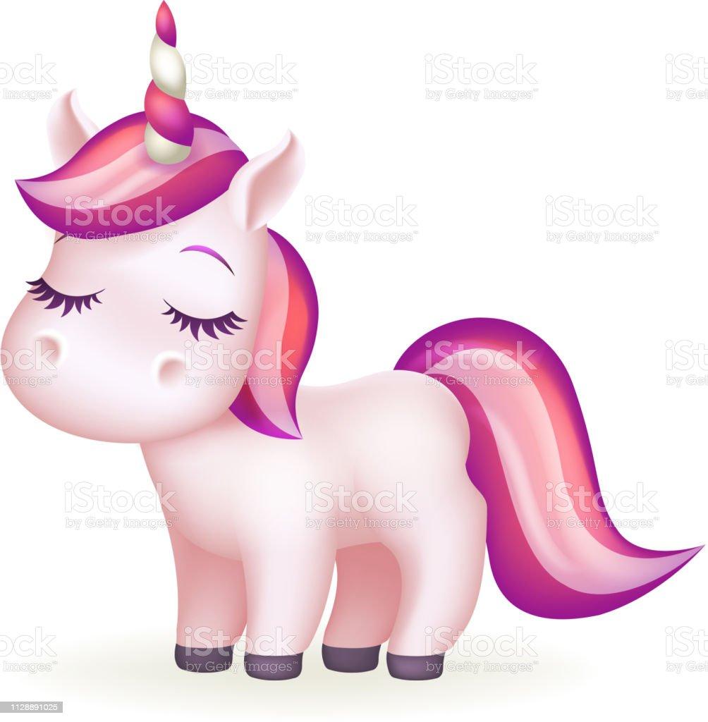 美しい夢童話魔法動物かわいい長いまつげユニコーン漫画少女分離ベクトル