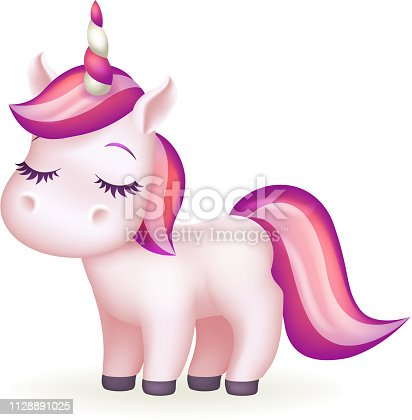 Beautiful dreaming fairytail magic animal cute long eyelashes unicorn cartoon girl isolated design 3d vector illustration