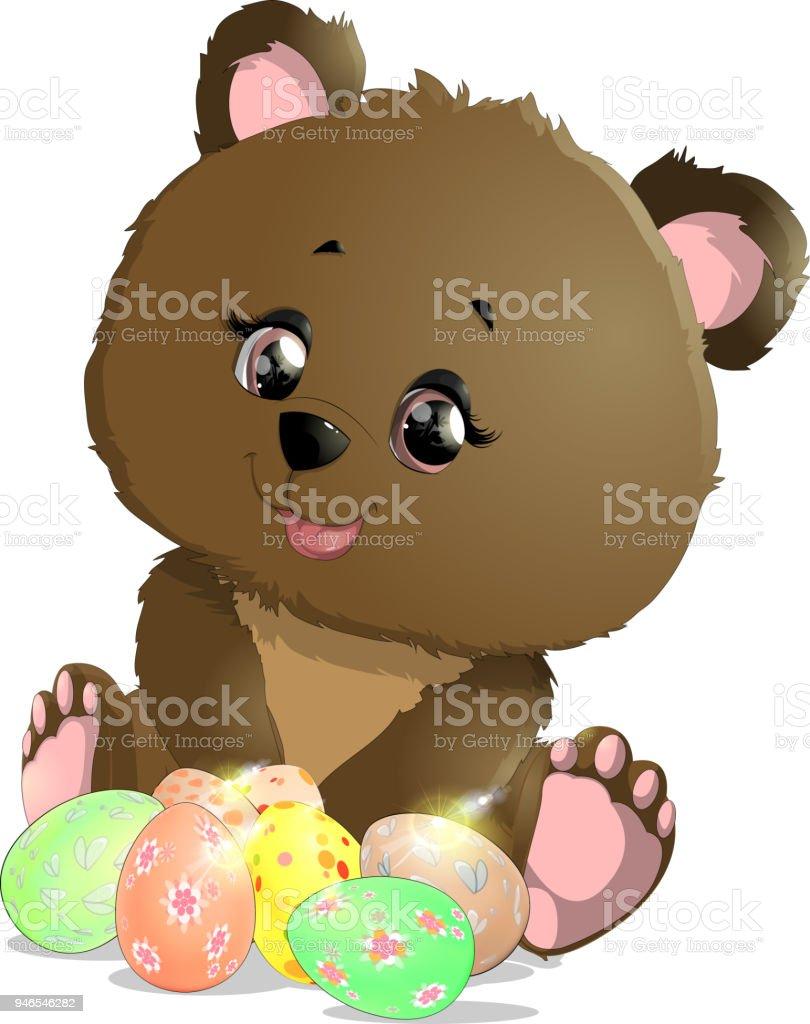 lindo urso da Páscoa - ilustração de arte em vetor