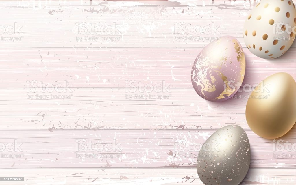 Beaux oeufs de Pâques d'or sur fond en bois minable rose. - Illustration vectorielle