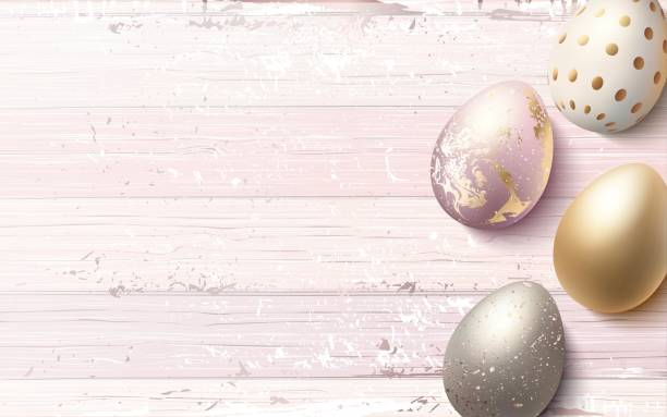 Beautiful easter golden eggs on pink shabby wooden background. vector art illustration