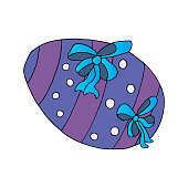 Faberge egg. Easter painted egg. Striped with circles and bright bows.
