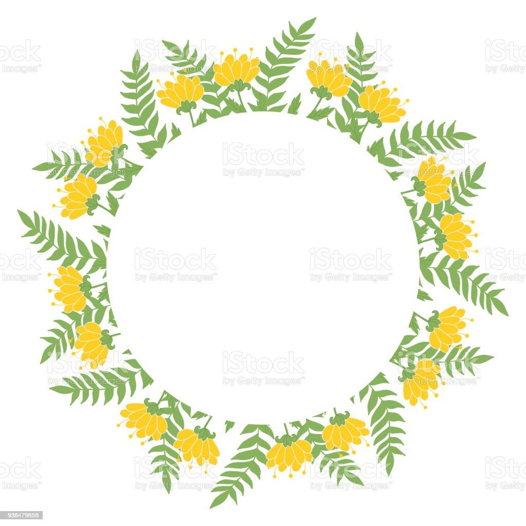 Elegant Floral Frame Hand Drawn Design For Invitation Wedding Or