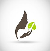 Beautiful eco sign with leaf and female face vector