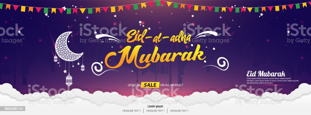 Beautiful Eid al Adha Mubarak Calligraphy text vector template design vector art illustration