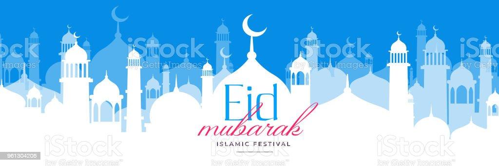 beautiful eid mosque scene design sale banner vector art illustration