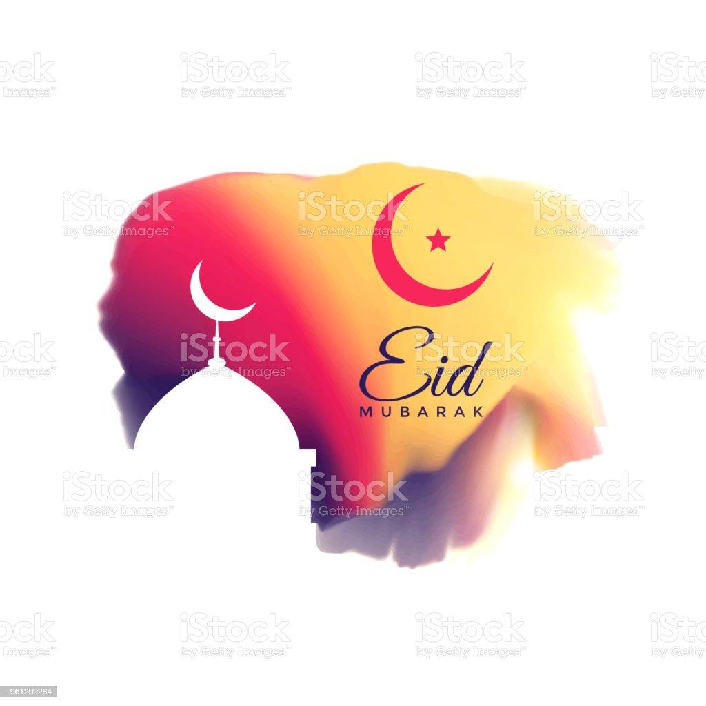 beautiful eid mubarak festival greeting vector art illustration