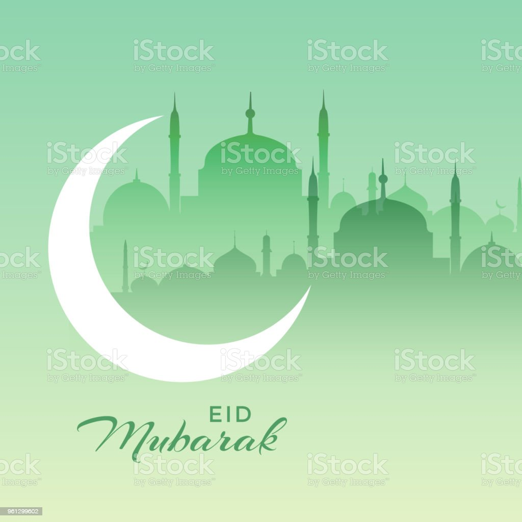 beautiful eid mubarak mosque scene with crescent moon vector art illustration
