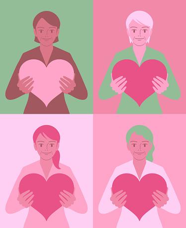 Beautiful elder multi-ethnic group women holding a love heart sign