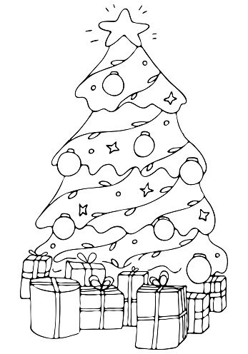 beautiful elegant christmas tree with gifts and decorations, coloring book, vector element in doodle style