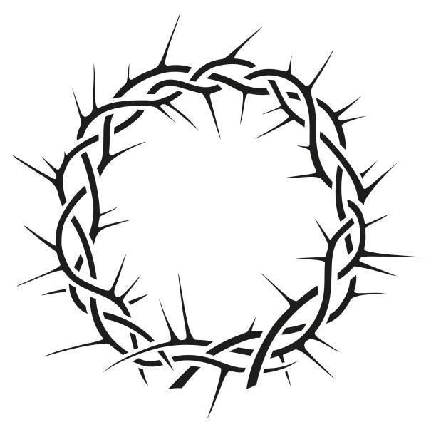 Beautiful elegant crown of thorns vector black and white illustration vector art illustration