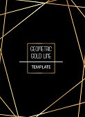 Beautiful, elegant, simplistic template with golden lines on black background vector template