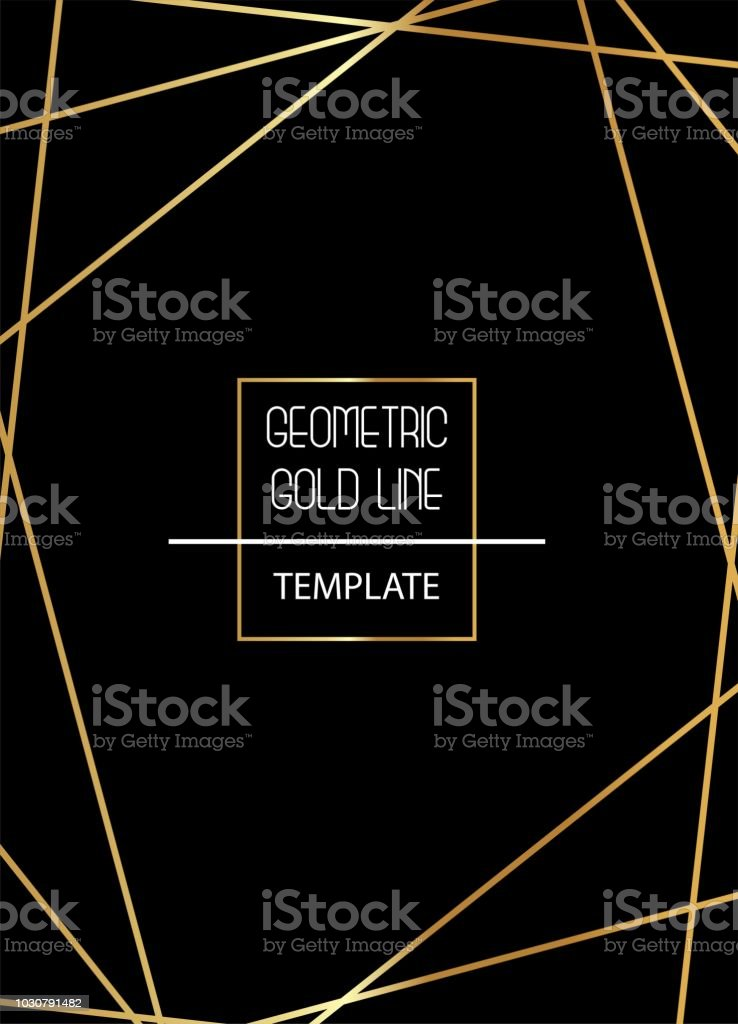 Beautiful, elegant, simplistic template with golden lines on black background vector – artystyczna grafika wektorowa