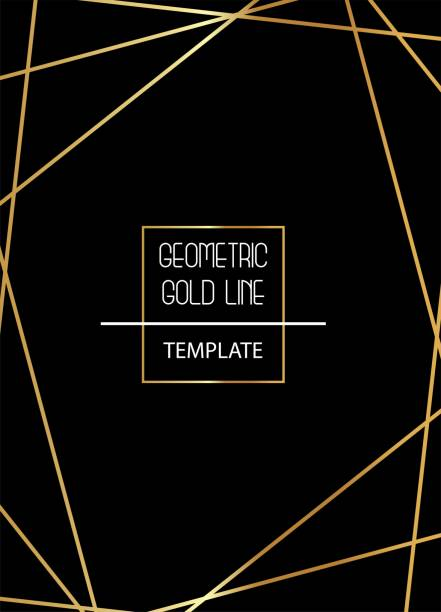 beautiful, elegant, simplistic template with golden lines on black background vector - geometric border stock illustrations, clip art, cartoons, & icons