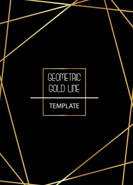 Beautiful, elegant, simplistic template with golden lines on black background vector vector art illustration
